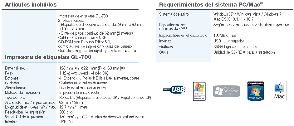 brother especificaciones ql700